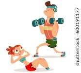 fitness couple man and woman... | Shutterstock .eps vector #600191177
