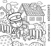 boy postman near the house with ... | Shutterstock .eps vector #600200693