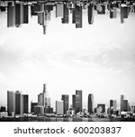 abstract upside down city on... | Shutterstock . vector #600203837