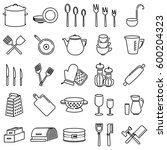 outline icon set of kitchen... | Shutterstock .eps vector #600204323