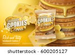cheese sandwich cookies ad ... | Shutterstock .eps vector #600205127