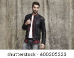 leather jacket man in studio ... | Shutterstock . vector #600205223