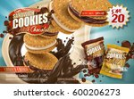 chocolate and milk cookies ad ... | Shutterstock .eps vector #600206273