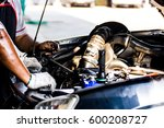 technicians are checking car... | Shutterstock . vector #600208727