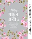 wedding invitation card... | Shutterstock . vector #600209777