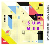 trendy vector summer cards... | Shutterstock .eps vector #600212387