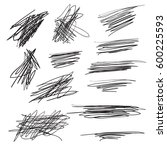 scribble brush strokes set ... | Shutterstock . vector #600225593