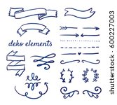 doodle set of various deco and...   Shutterstock .eps vector #600227003