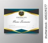 certificate premium template... | Shutterstock .eps vector #600229277