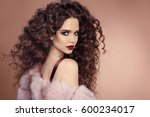 hairstyle. fashion brunette... | Shutterstock . vector #600234017