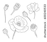 black poppies isolated on a... | Shutterstock .eps vector #600240533