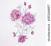 Sketch Of A Purple Peony On A...