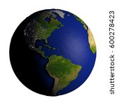 Americas On Model Of Earth Wit...