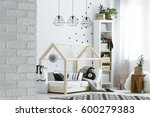 child room with brick wall ... | Shutterstock . vector #600279383