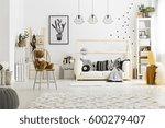 white child bedroom with carpet ... | Shutterstock . vector #600279407