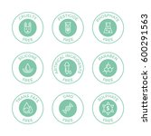 set of eco badges. free from... | Shutterstock .eps vector #600291563