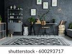 multifunctional flat with cyan... | Shutterstock . vector #600293717