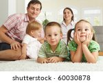 happy family with 3 children... | Shutterstock . vector #60030878