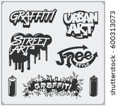 set of graffiti school and... | Shutterstock .eps vector #600313073