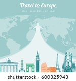 travel composition with famous... | Shutterstock .eps vector #600325943