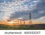 landscape with high voltage...   Shutterstock . vector #600333257