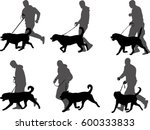 Stock vector man training dog preparing dog for exhibition silhouettes vector 600333833