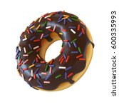 chocolate donut or doughnut... | Shutterstock . vector #600335993