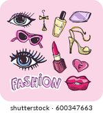 hand drawn doodle fashion set.... | Shutterstock .eps vector #600347663