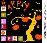 happy halloween  card  | Shutterstock .eps vector #600347717