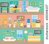 office interior background in... | Shutterstock . vector #600348107