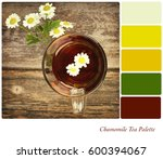 top view of chamomile tea in a... | Shutterstock . vector #600394067