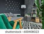 cozy room corner with armchair... | Shutterstock . vector #600408023