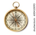 old compass on white background | Shutterstock . vector #600410093