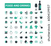 food and drinks icons   | Shutterstock .eps vector #600419957
