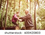 happy granddaughter playing... | Shutterstock . vector #600420803