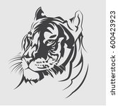 vector tiger head. emblem  logo ... | Shutterstock .eps vector #600423923