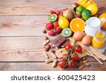 selection of allergy food ... | Shutterstock . vector #600425423