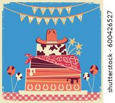cowboy happy birthday card with ... | Shutterstock .eps vector #600426527