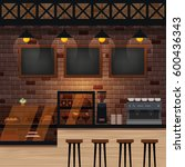 cafe  bar or coffee shop... | Shutterstock .eps vector #600436343