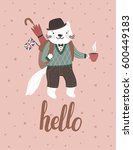vector background with cute cat ... | Shutterstock .eps vector #600449183