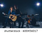 musician duo band singing a... | Shutterstock . vector #600456017