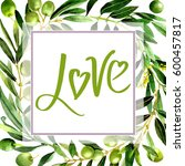 olive tree frame in a... | Shutterstock . vector #600457817