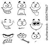 black and white cartoon funny... | Shutterstock . vector #600479867