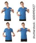 cute teenager boy in blue t... | Shutterstock . vector #600490427
