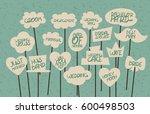 doodle comic speech bubble... | Shutterstock .eps vector #600498503