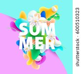 bright summer poster with... | Shutterstock .eps vector #600510323