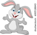 cartoon cute rabbit posing | Shutterstock .eps vector #600518843
