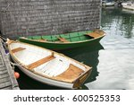 white and green wood boats are...   Shutterstock . vector #600525353