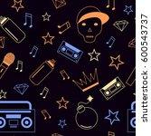 rap hip hop music seamless... | Shutterstock .eps vector #600543737