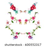 colorful flowers and butterfly... | Shutterstock .eps vector #600552317